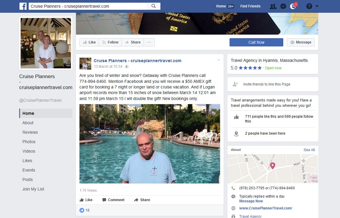 Cruise Planners Facebook page screenshot